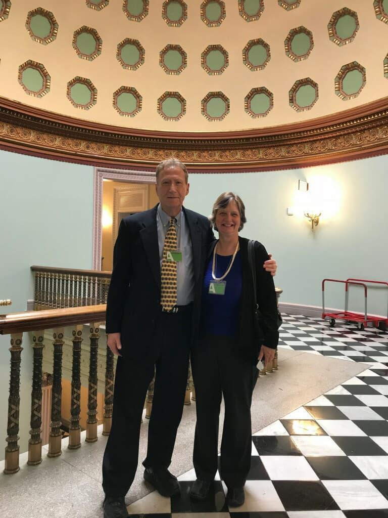 Alan Ross, VP of Reliability at SDMyers, and SMRP Outreach Director Nancy Frost  at the Whitehouse.